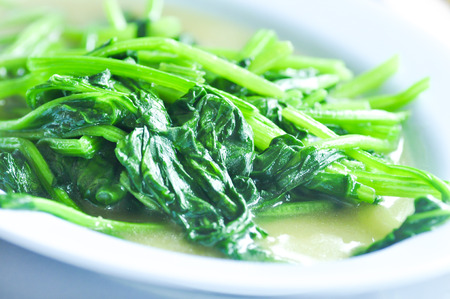 stir-fried spinach,spinacia oleracea  dish