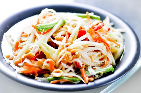 cow pea: papaya salad som tum,fruit salad,vegetable salad,spicy salad,thai food