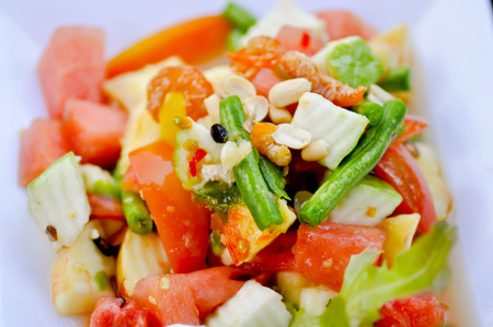 fruit and vegetable salad dish, spicy salad,mixed salad photo