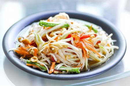 cow pea: papaya ,carrot,cow-pea ,pea and dried shrimp salad Stock Photo