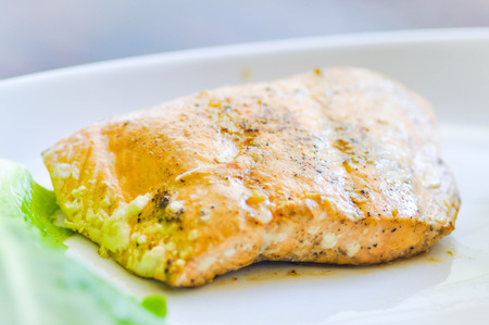 salmon steak: grilled salmon steak dish