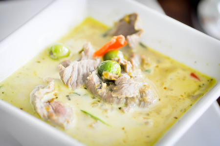 beef curry: Green beef Curry dish , Thai cuisine
