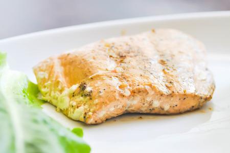 salmon steak: salmon steak dish with vegetable