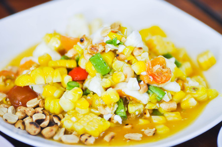 corn salad: spicy corn salad, vegetable salad dish Stock Photo