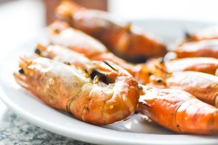arugola: grilled shrimp or grilled prawn Stock Photo