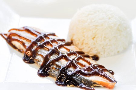 salmon steak: salmon steak with rice dish