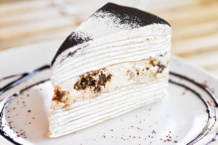 crepe: Tiramisu crepe cake dish Stock Photo