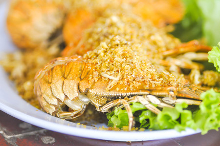 fluvial: fried mantis shrimp dish or fried crayfish dish Stock Photo