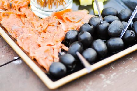 black olive: grilled salmon and black olive dish