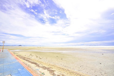 ways to go: clear sky and beach background Stock Photo