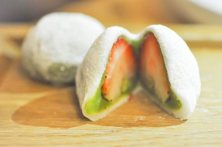 japanese dessert: Daifuku mochi or bun with strawberry stuffed, Japanese dessert