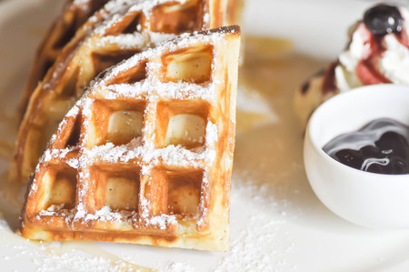 icing: waffle with icing sugar and blueberry dip