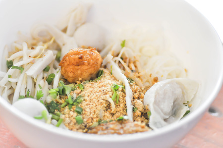 fish ball: Chinese noodle or  noodle with fish ball dish Stock Photo