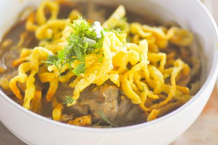 thai noodle: Khao Soi or Thai Curry Noodle,Northern Thai noodle dish Stock Photo