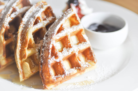 icing sugar: waffle with icing sugar ,whipped cream and blueberry dip