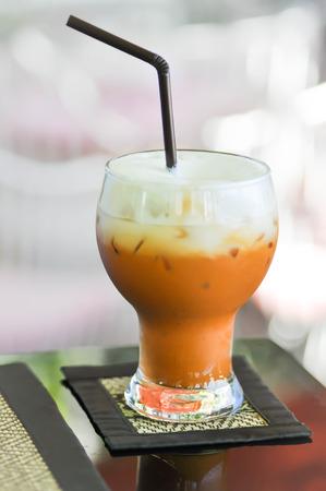 té helado: té con leche, té helado, té tailandés Foto de archivo