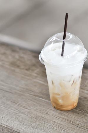 cappucino: glass of iced cocoa ,iced cappucino coffee or iced chocolate Stock Photo