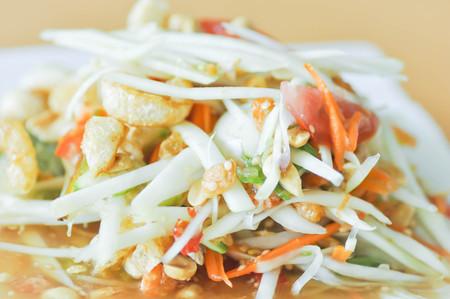 spicy salad,Som Tam or Thai spicy salad dish
