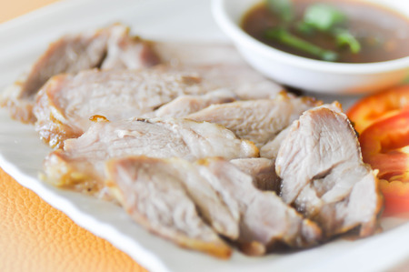 sliced pork or grilled pork dish (Thai food) Stock Photo