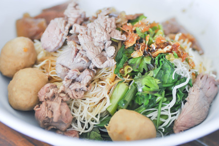 scald: plain Chinese noodle,Chinese noodle with meatball and beef dish Stock Photo