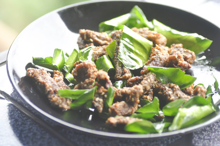 sanguijuela: deep fried beef or Deep fried marinated beef with leech lime leaf (Thai food)