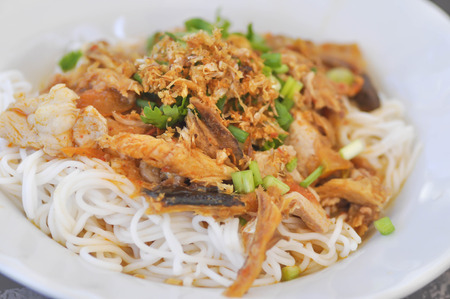 thai noodle: Thai noodle or northern Thai noodle with fish and vegetable dish Stock Photo