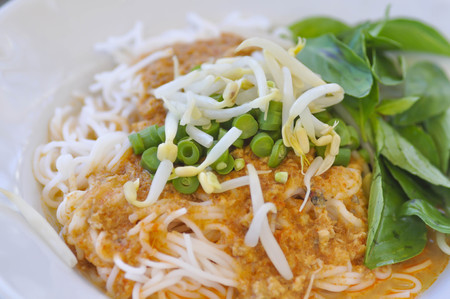 vigna: Thai noodle or northern Thai noodle with fish and vegetable dish Stock Photo