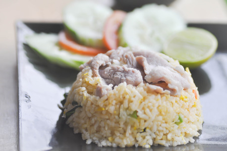 stir-fried rice or fried rice with pork and vegetable (Thai food)