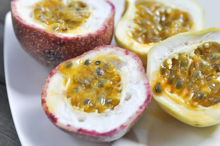 grenadilla: sliced passion fruit in the plate