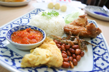 nasi lemak or rice with fried fish ,omelet and fried chicken