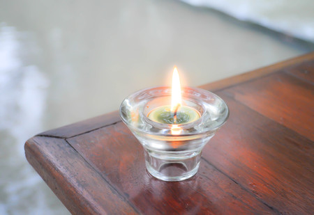candle or sconce on the table Stock Photo