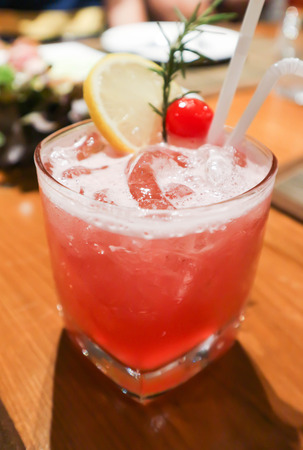 pink lady or ginsling cocktail glass Banco de Imagens