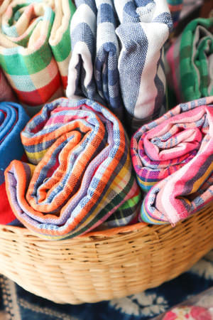 cotton scarf in the basket Stock Photo