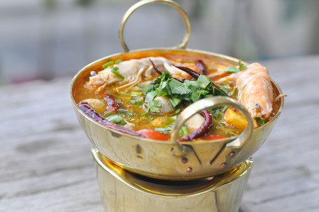 tom yum kung, spicy soup or Thai spicy soup