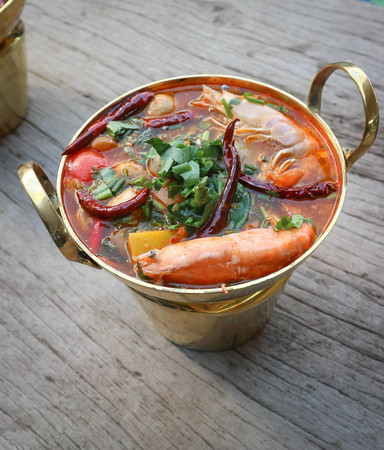 spicy soup or tom yum kung, Thai food Stock Photo