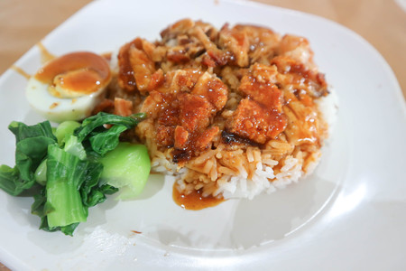 crispy pork with rice or rice topped with crispy pork or Thai food