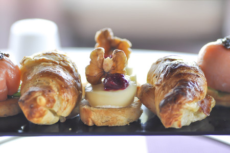 cheese pie and croissant or canape set Stock Photo