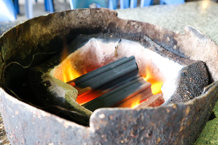 charcoal in the toaster or roaster