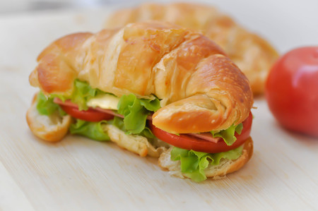 croissant sandwich or ham and cheese sandwich dish