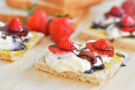 whole wheat bread and canape with strawberry topping