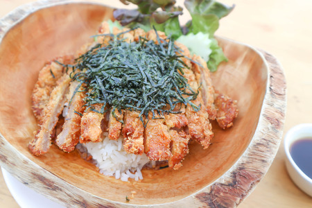 rice topped with fried pork or Tonkatsu in japanese food