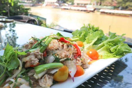 spicy salad or vermicelli salad or Thai spicy salad dish 版權商用圖片