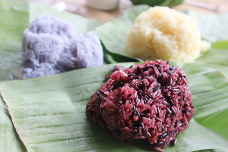 sticky rice or Thai sticky rice on the banana leaf