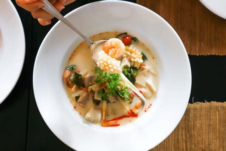 seafood soup or thai soup or spicy soup Stock Photo