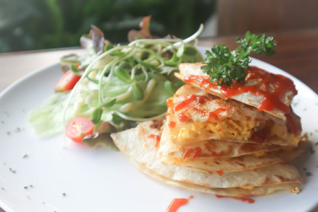 Quesadillas or Tortilla with egg and vegetable Stock Photo