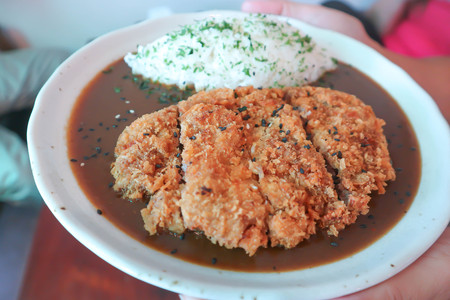 Japanese curry rice or Japanese curry with pork, Tonkatsu