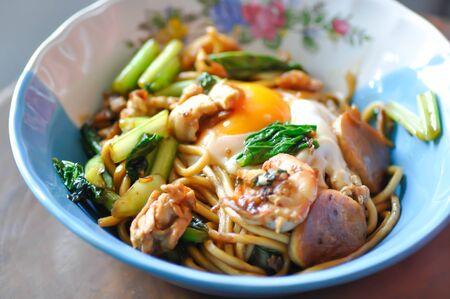 Chinese noodle or noodles with egg and shrimp