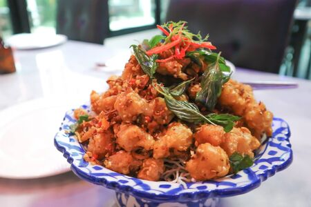deep fried pork with deep fried basil, Crispy Fried Chicken Tendon
