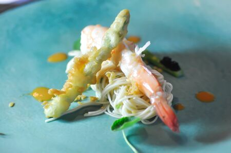 soba ,shrimp noodles in tiny serve or tiny noodles Stock Photo