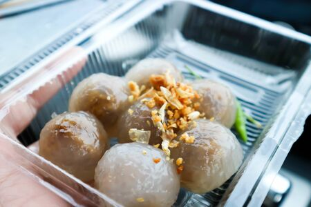 Thai snack or dough ball ,tapioca balls with pork filling